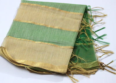 Chanderi Silk Handloom Dupatta, Green - Dupatta and Stoles - SharePyar
