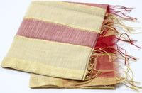 Chanderi Silk Golden Stripped Dupatta with Golden Border, Red