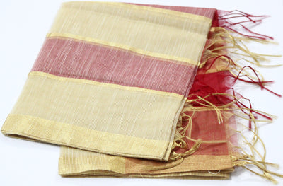 Chanderi Silk Golden Stripped Dupatta with Golden Border, Red - Dupatta and Stoles - SharePyar