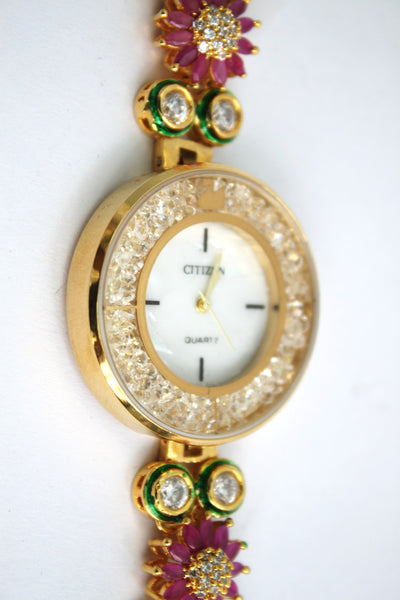 Citizen Kundan Embellished Watch - SharePyar - 4