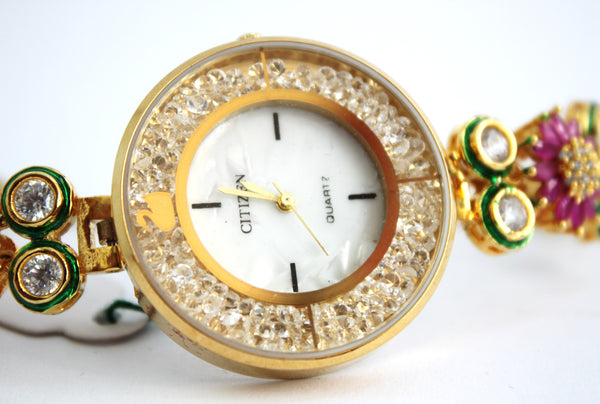 Citizen Kundan Embellished Watch - SharePyar - 2