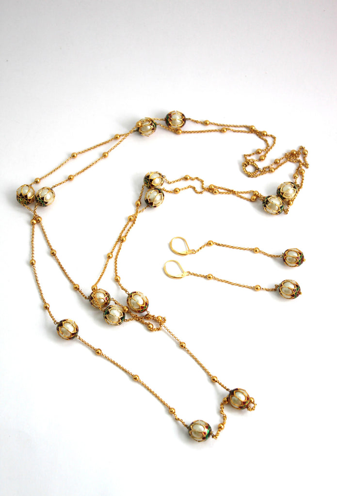 Contemporary Double Layered Chain Beaded Necklace Set - Jewellery - SharePyar