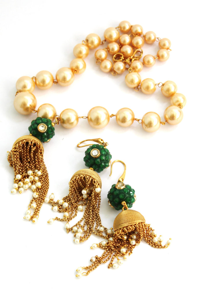 Contemporary Jhumka (Hindi: झुम्का) Pendent Pearl Necklace Set - Jewellery - SharePyar