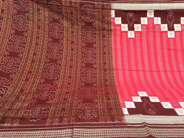 Coral Saptapar Broad Bordered Sambalpuri Designer Cotton Saree - SharePyar - 4