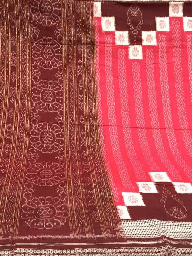 Coral Saptapar Broad Bordered Sambalpuri Designer Cotton Saree - SharePyar - 1