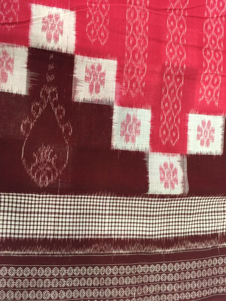 Coral Saptapar Broad Bordered Sambalpuri Designer Cotton Saree - SharePyar - 3