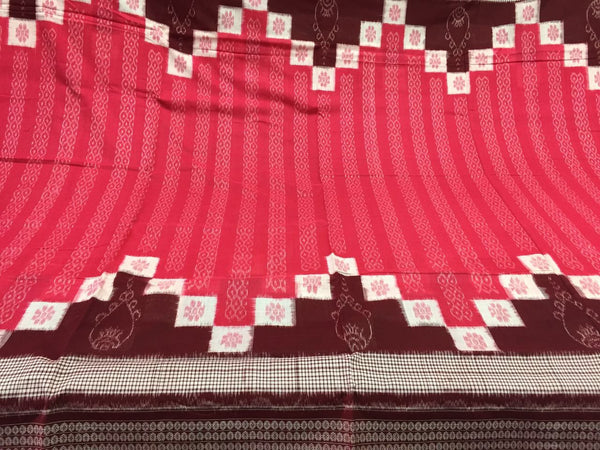 Coral Saptapar Broad Bordered Sambalpuri Designer Cotton Saree - SharePyar - 5