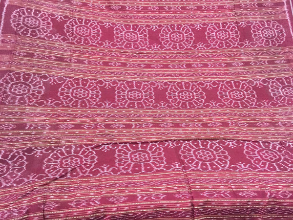Coral Saptapar Broad Bordered Sambalpuri Designer Cotton Saree - SharePyar - 6