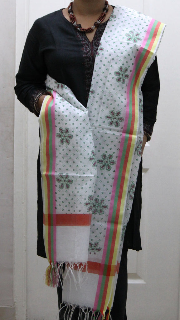 Pure Cotton Hand Block Printed Dupatta, White/ Green - Dupatta and Stoles - SharePyar
