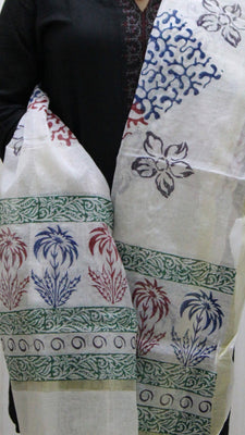 Pure Cotton Hand Block Printed Dupatta, White with Large Flower Pot Pattern - Dupatta and Stoles - SharePyar