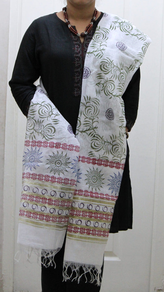 Pure Cotton Hand Block Printed Dupatta, White with Green Vine and Blue Flower Pattern - Dupatta and Stoles - SharePyar