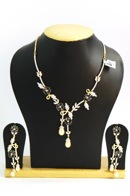 Cubic Zirconia American Diamond Necklace Set - Jewellery - SharePyar