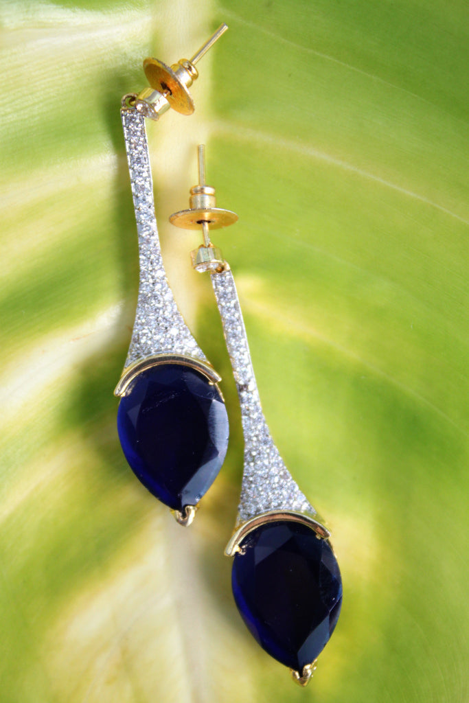 Cubic Zirconia Blue Drop Earrings - SharePyar - 1