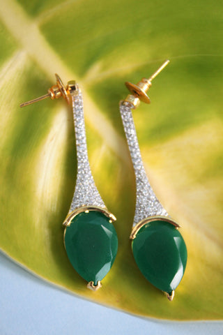 Cubic Zirconia Green Drop Earrings - SharePyar - 1