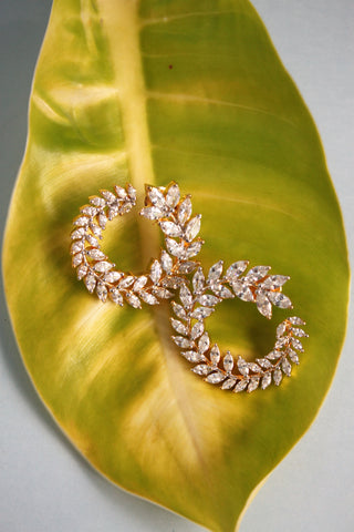 Cubic Zirconia Leaf Vine Earrings - SharePyar - 1