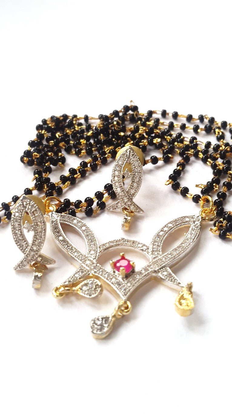 Mangalsutra Earring Set - Material: Metal, black beads, cubic zirconia