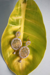 Cubic Zirconia Oval Net Earrings - SharePyar - 1