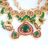 Cubic Zirconia & Ruby Designer Necklace Set For Women - Jewellery - SharePyar