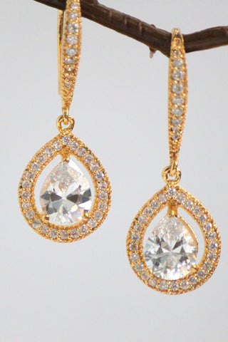 Cubic Zirconia Tear Drop Earrings - Jewellery - SharePyar