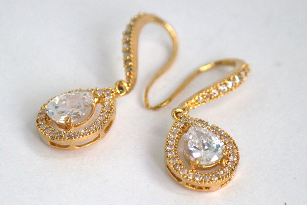 Cubic Zirconia Tear Drop Earrings - SharePyar - 3