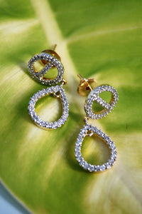 Cubic Zirconia Teardrop Circle Earrings - SharePyar - 1