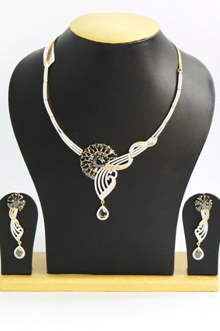 Designer American Diamond Necklace Set - SharePyar - 1