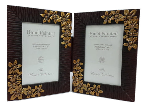Double Folding Photo Frames 4x6 inch, Washable - Flower Pattern - SharePyar - 1