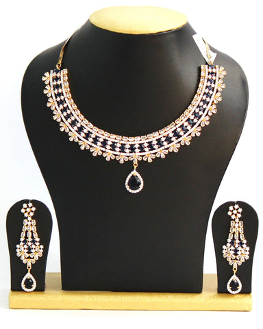 Elegant American Diamond Necklace Set, Indigo Blue - SharePyar - 1