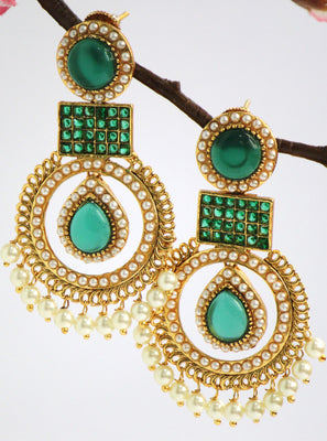 Elegant Antique Gold Plated Chandelier  Earring, Green - Jewellery - SharePyar