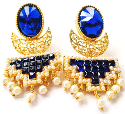 Elegant Polki Earrings, Red/Blue - Jewellery - SharePyar