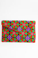Embroidered Bright Multicolored Sling Clutch