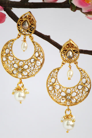 Enriched Gold Plated Fashion Drop Earring, White - SharePyar - 1
