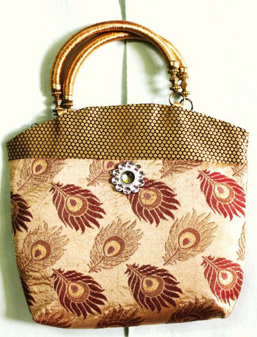 Ethnic Silk Bag, Cream - SharePyar