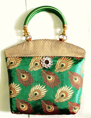 Ethnic Silk Bag, Green - Wallets - SharePyar