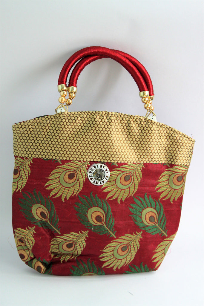 Ethnic Silk Bag, Maroon - Wallets - SharePyar