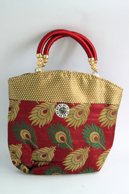 Ethnic Silk Bag, Maroon - SharePyar - 1