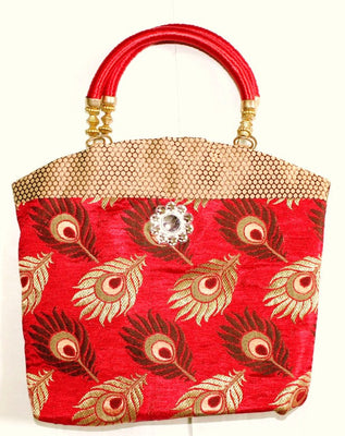 Ethnic Silk Bag, Red - Wallets - SharePyar