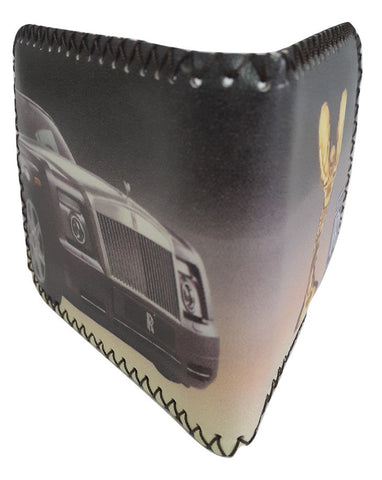 Fashion PU Leather Wallet, Design -Rolls Royce Chocolate - SharePyar - 1