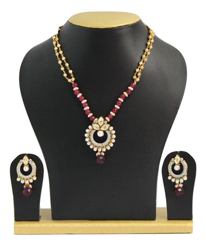 Elegant Fusion Kundan Necklace Set - SharePyar - 1