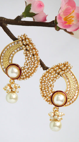 Gold Plated American Diamond Drop Earrings - SharePyar - 1