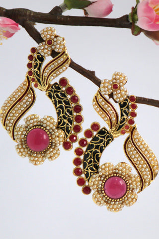 Gold Plated Antique Drop Earrings, Black & Red - SharePyar - 1