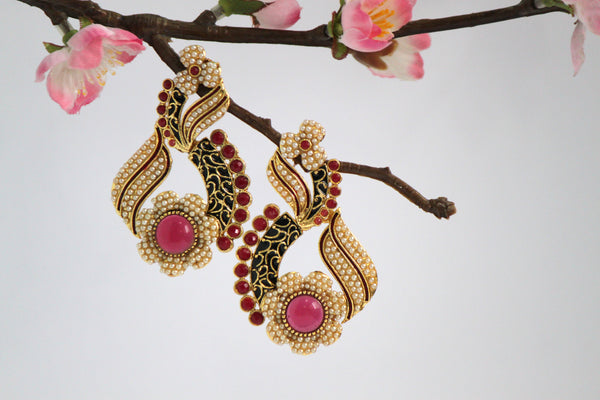 Gold Plated Antique Drop Earrings, Black & Red - SharePyar - 3