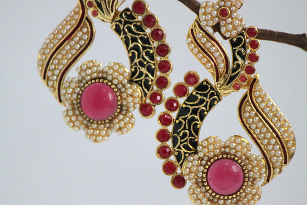 Gold Plated Antique Drop Earrings, Black & Red - SharePyar - 4