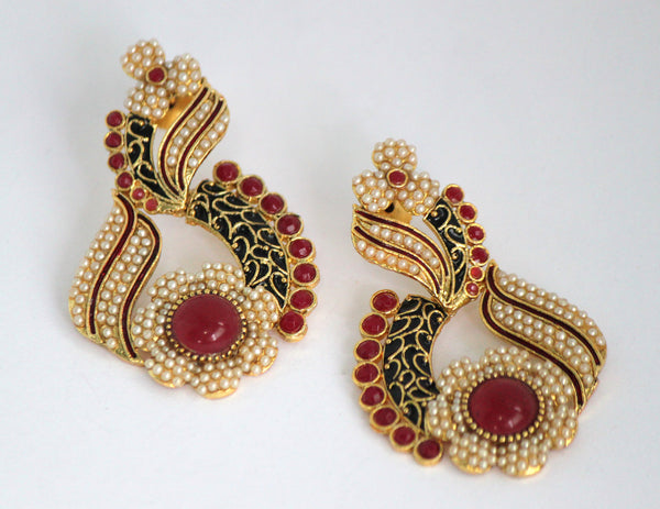 Gold Plated Antique Drop Earrings, Black & Red - SharePyar - 5