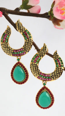 Gold Plated Antique Emerald and Ruby Drop Earrings - Jewellery - SharePyar