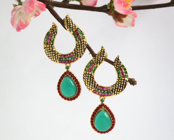 Gold Plated Antique Emerald and Ruby Drop Earrings - SharePyar - 2