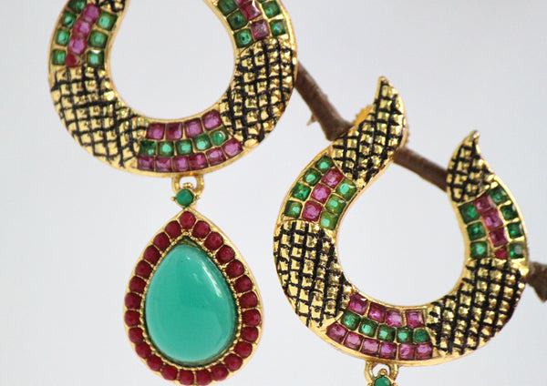 Gold Plated Antique Emerald and Ruby Drop Earrings - SharePyar - 3