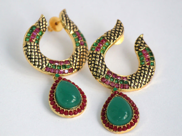 Gold Plated Antique Emerald and Ruby Drop Earrings - SharePyar - 4