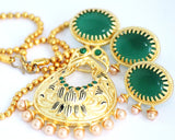 Gold Plated Antique Necklace Set, Green - Jewellery - SharePyar