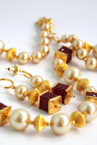 Gold Plated Antique Pearl Beaded Necklace Set - Jewellery - SharePyar